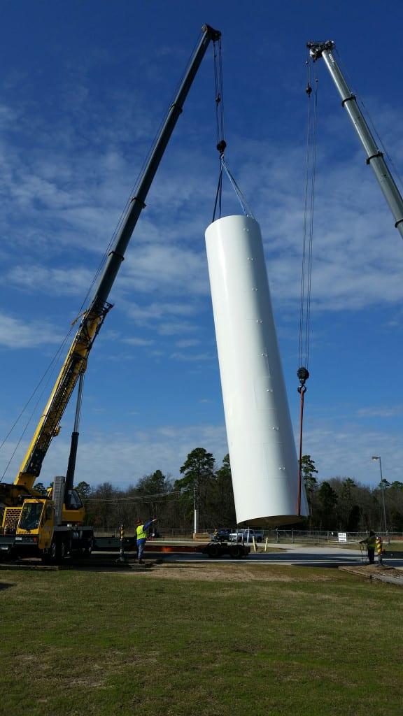 Dual crane lift of water silo