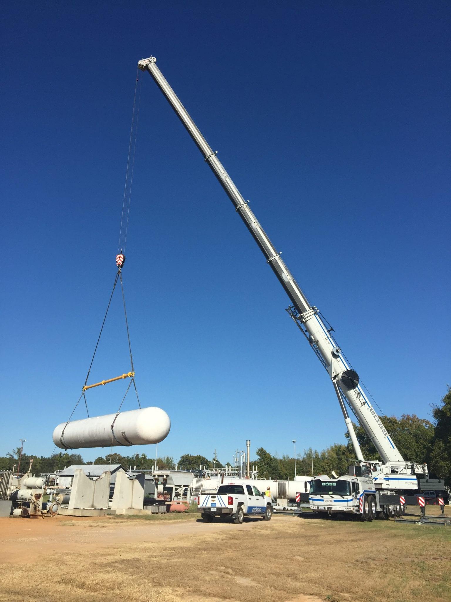 Recent job photos boss crane rigging for Crane grove